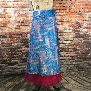 wevez silk blend reversible wrap maxi skirt OS